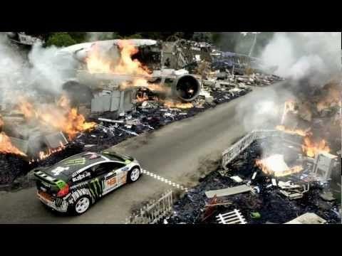 Stunt/rally driver Ken Block driving a Ford Fiesta (driving starts at 1:25)