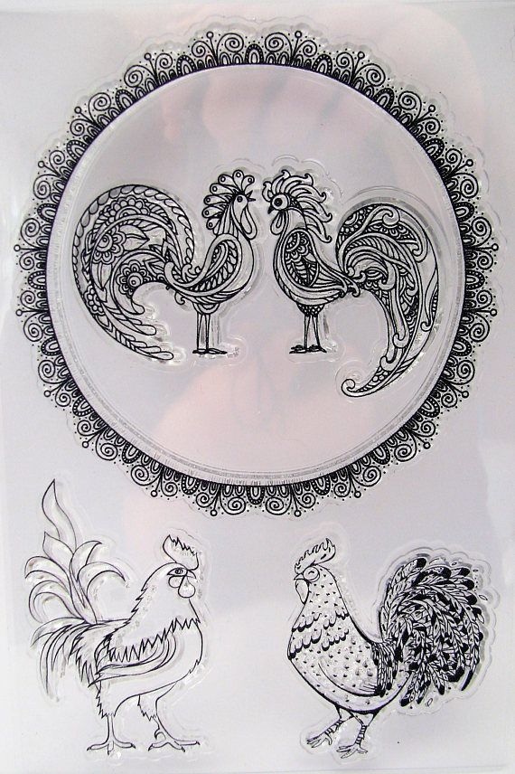 Clear Stamps Rooster Cock Round Crown 4 Stamps Cadre Rond