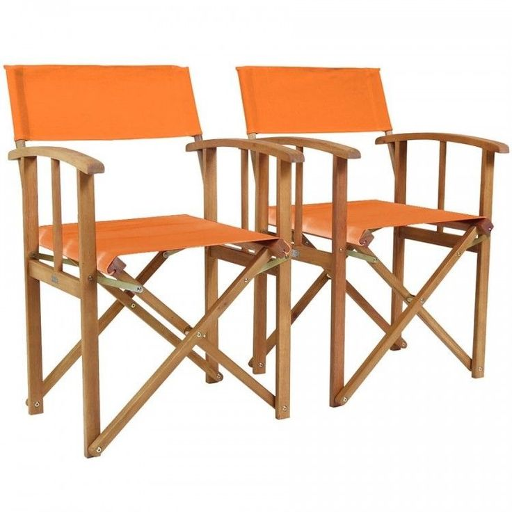 Folding Directors Chair Set 2 Wooden Outdoor Garden Relax Camping Fabric Orange