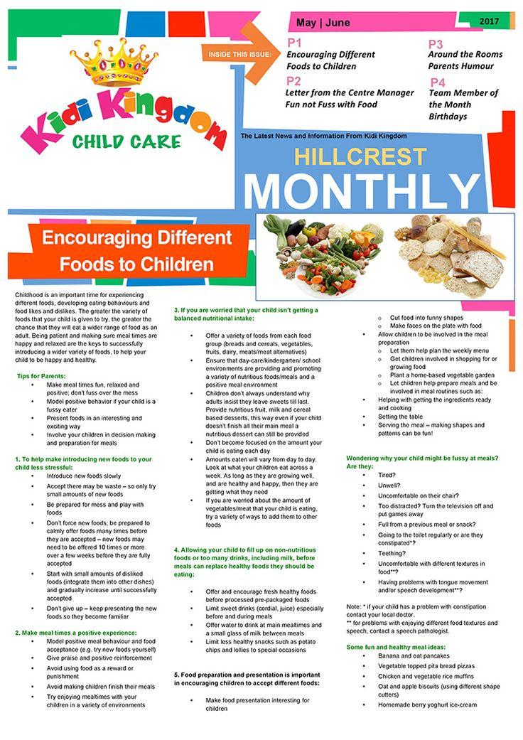Welcome to the May / June Edition of Kidi Kingdom - Hillcrest News.  #Newsletter #ChildCare #Kindergarten #ChildrenFun #HappyChildren