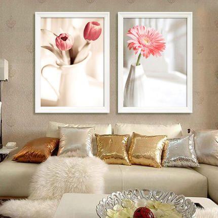 Новое исследование, маленькая спальня цветы серии стежка 3D печать элегантный и свежий двухвалентный минималистский современная живопись - Taobao