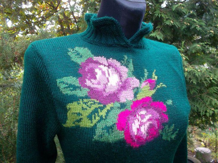 Купить Платье из натуральной шерсти с шелком Roses - тёмно-зелёный, цветочный, розы, розы интарсия