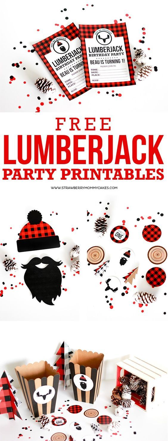download these free lumberjack party printables party printables lumberjacks and parties. Black Bedroom Furniture Sets. Home Design Ideas