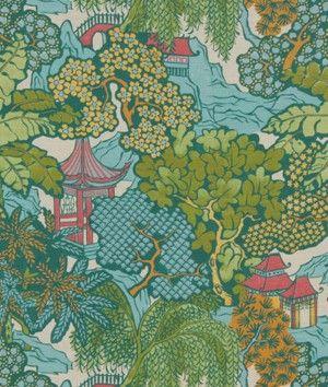 Robert Allen @ Home Neo Toile Coral Fabric - $21.75 | onlinefabricstore.net