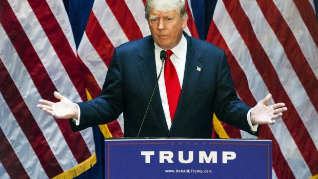 Donald Trump: 'I Am Officially Running For President'... June 16, 2015 Business mogul Donald Trump gives a speech as he announces his candidacy for the U.S. presidency at Trump Tower on June 16, 2015 in New York City.  (Photo by Christopher Gregory/Getty Images)
