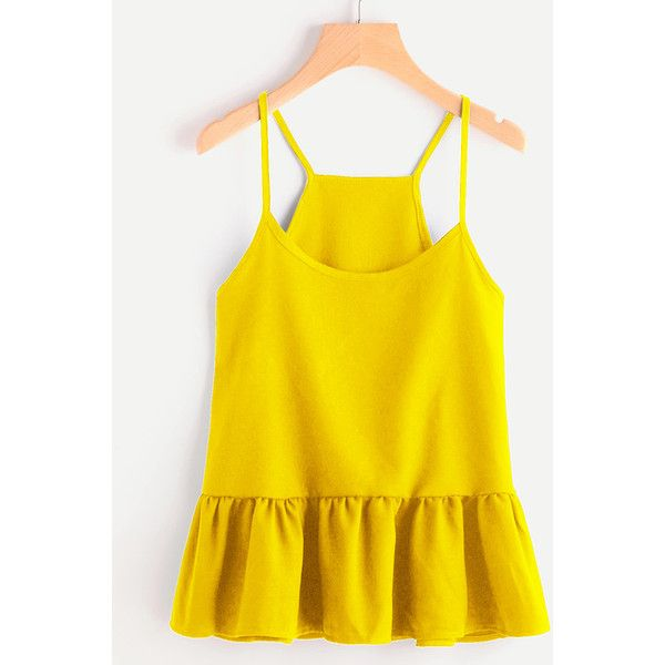 SheIn(sheinside) Drop Waist Frill Hem Cami Top ($9) ❤ liked on Polyvore featuring tops, yellow, yellow tank, ruffle top, ruffle tanks, camisole tank top and cami tank tops