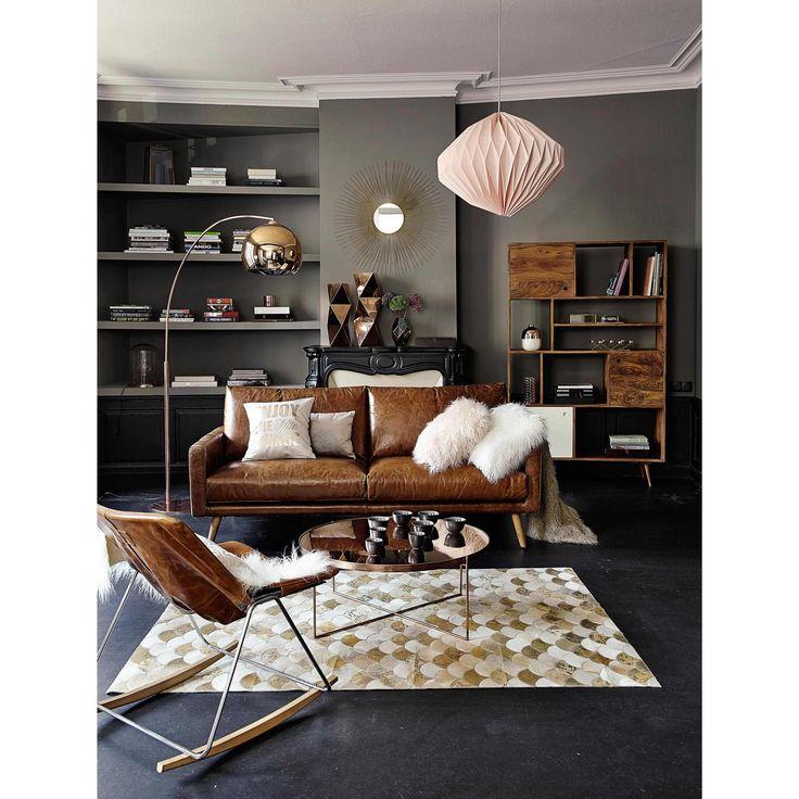 Canap 3 places en cuir marron cognac salons living for Canape leather sofa