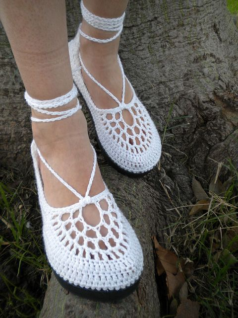 The Clouds - White Crochet Shoes