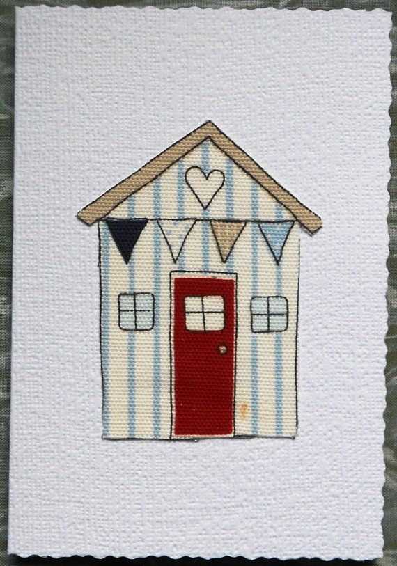 White Heart Beach Hut Fibre Art Greetings by AngiesTextileArt, £1.50