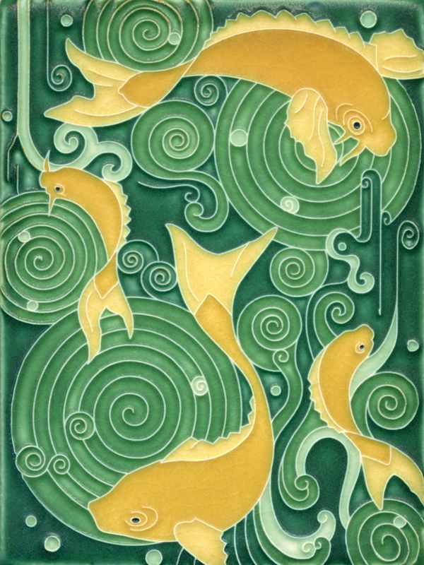Koi Pond in green Motawi Tiles.  Japanese Koi symbolize good luck, longevity & prosperity.  #HOFluckycharms