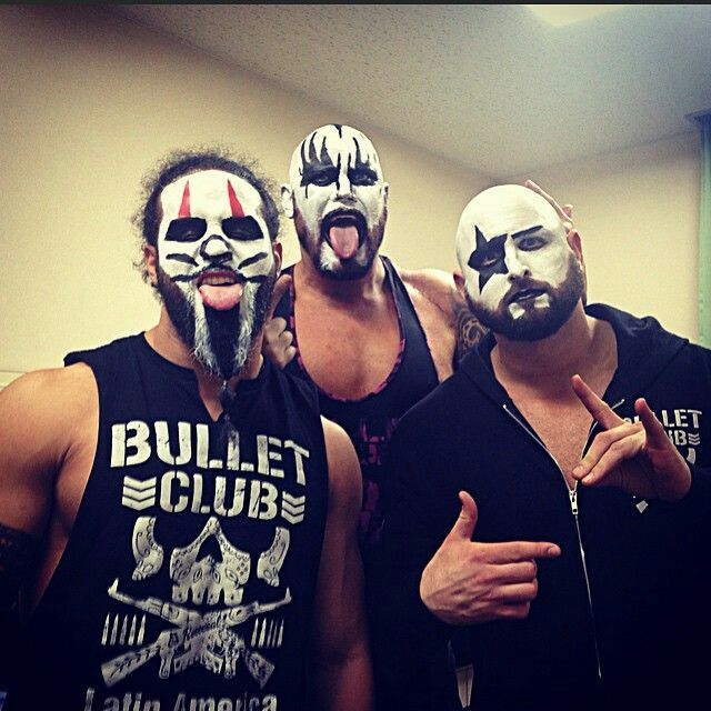 Tama Tonga, Doc Gallows and Karl Anderson of Bullet Club donning some KISS face paint. Tama and Doc usually wear paint but this style is a first.