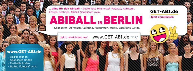 Abiball BERLIN - für alle Infos zur Abiball-Planung in Berlin besuche die folgende Facebook-Seite: https://www.facebook.com/pages/Abiball-Berlin/683019321781679  Hier findest Du Festhallen, Cateringdienste, Abifotografen uvm. aus Berlin & der Berliner Umgebung