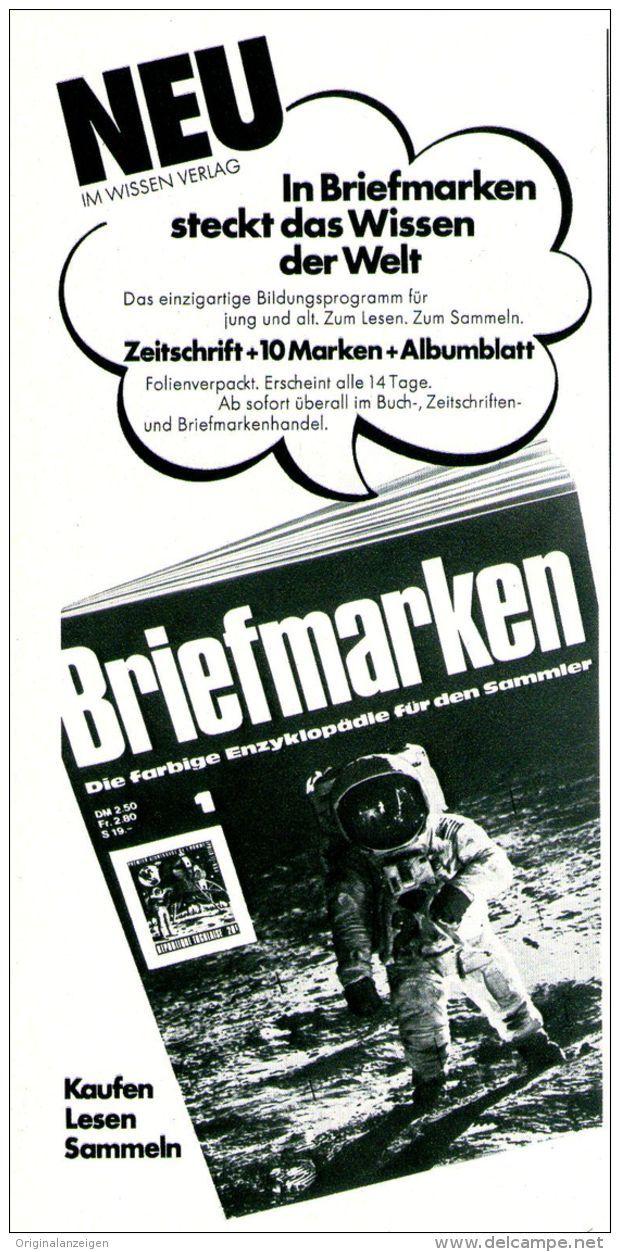 """Original-Werbung/ Anzeige 1969 - ZEITSCHRIFT """"BRIEFMARKEN"""" - ca. 110 x 240 mm"""