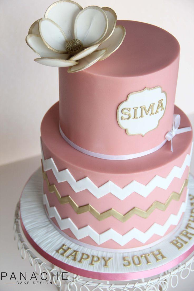 chevron birthday cake women lady pink gold white sugar flower name plaque badge 50th birthday cake wedding cake elegant simple pretty