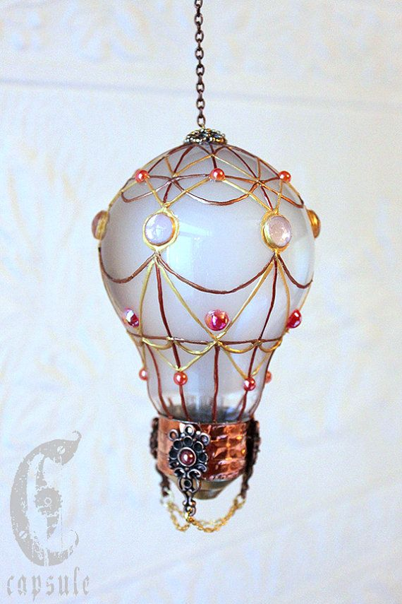 Decorative Ornament Frost White Stained Glass Light Bulb Hot Air Balloon with Pink Cabochons Holiday Christmas