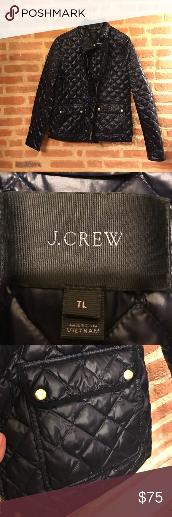 Navy J Crew Quilted thin puffy jacket NWOT navy thin quilted JCrew puffer. Bought at the end of last season and didn't wear. It is TTS just too big for me. It is a tall large. Let me know if you have any questions ! Price negotiable J. Crew Jackets & Coats Puffers