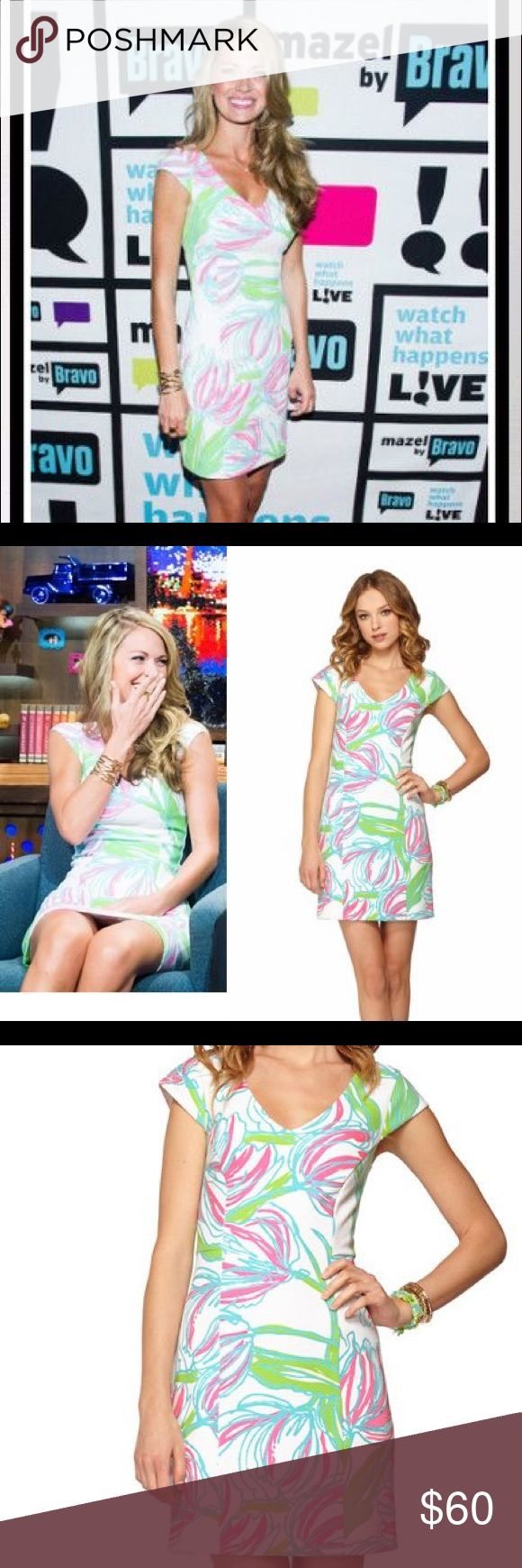 Lily Pulitzer Desiree Cap Sleeve Sheath Dress Lily Pulitzer Desiree Cap Sleeve Sheath Dress in the pattern Ring the bellboy. As seen on Cameron Eubanks Wimberly from Bravo's Southern Charm. Lilly Pulitzer Dresses Midi