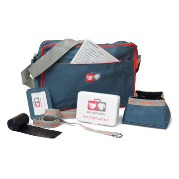 pet travel bag and safety kit from pet portables. includes: basic first aid kit, earth friendly scoop bags, id card, and enough room for food/water/toys. currently only $37.00 on fab.com