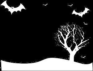 PublicDomainVectors.org-Overzicht vector tekening van landschap met vleermuizen en boom. Zwart-wit afbeeldingen van vleermuizen vliegen over een boom.