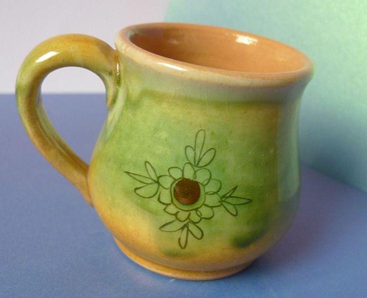 Vintage Studio Art Pottery Latvian Ceramic Keramikas Fabrika cup Souvenir rare