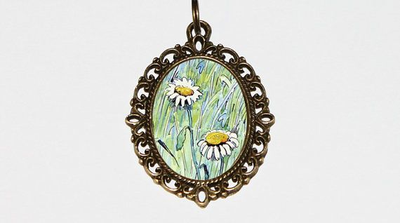Daisies Necklace Flower Pendant Bohemian Daisy by TheGoblinCave