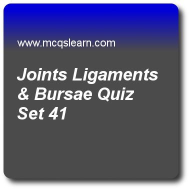 Joints Ligaments & Bursae Quizzes:   general knowledge Quiz 41 Questions and Answers - Practice GK quizzes based questions and answers to study joints ligaments & bursae quiz with answers. Practice MCQs to test learning on joints ligaments and bursae, internet protocol, equinoxes and solstices, indian ocean, solar system facts quizzes. Online joints ligaments & bursae worksheets has study guide as small band of white, dense and fibrous elastic tissue is classified as, answer key with…