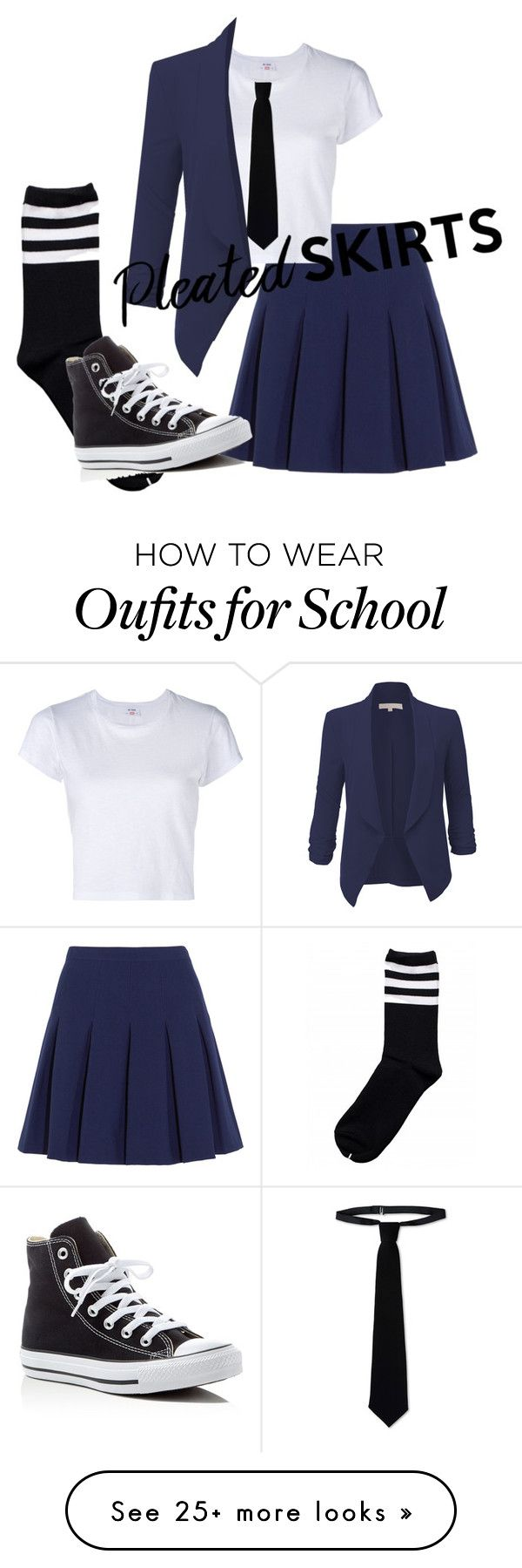 """School Uniform(Contest)"" by fashiontothesky on Polyvore featuring Diane Von Furstenberg, Converse, RE/DONE, RED Valentino, LE3NO and pleatedskirts"
