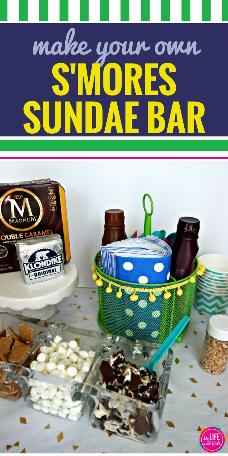 Build your own S'Mores Sunday Bar with this DIY variation of everyone's favorite campfire dessert. With graham crackers, marshmallows and Klondike bars, you (and your kids) will love this recipe for the ultimate dessert bar. sponsored