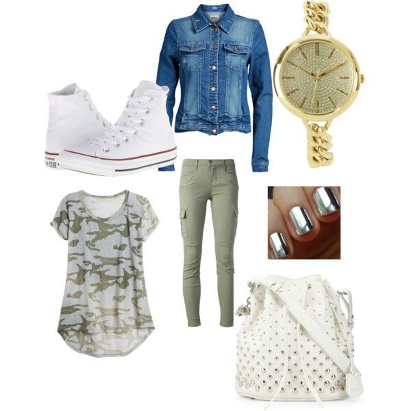 Loose and sports  Camo T-Shirt  Denim jacket Khaki jeans Converse shoes Alexander McQueen bag Gold watch  Silver nails