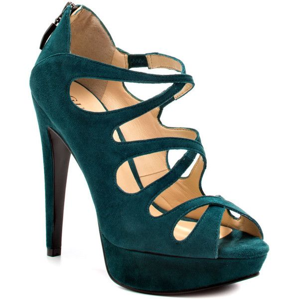 The Ashmere by Guess delivers a cute go to party style for any event. Criss  crossing straps create a sultry vamp while a blue green suede warps the 5  inch ...