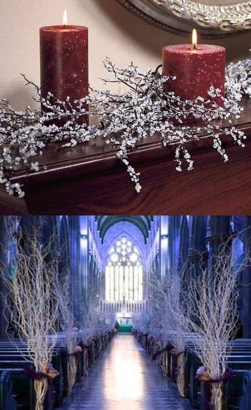 How To Make Iced Branches Winter Wedding Centerpieces@Brittany Fulton-maybe iced branches laying across the front of the church where the flowers would go-this would make a nice reflection off the candles