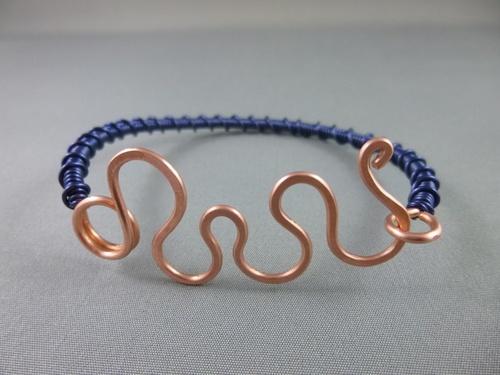 Blue and Copper Wire Cuff