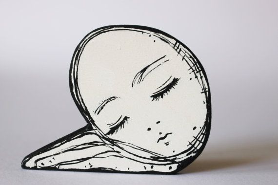 sleeping face hand painted on plywood 6 mm by NinaCaterinaMuller