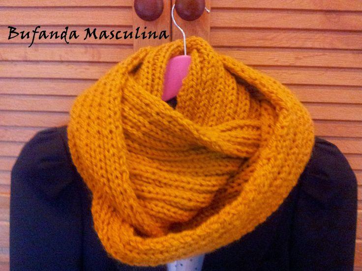 Bufanda masculina #diy #tejer #tricotar #dosagujas #knit #knitting #infinityscarf #bufanda #circular #lana #wool #laboresenlaluna