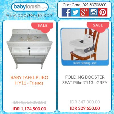 Dapatkan kursi makan anak yang dapat Anda pasang di kursi makan dewasa dari Pliko. Dan meja untuk ganti baju bayi sekaligus bak mandi dan lemari untuk bayi dari Pliko.  Hanya di www.babylonish.com