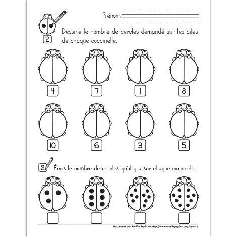Fichier PDF téléchargeable En noir et blanc seulement Niveau préscolaire 1 page En première partie, l'élève dessine le nombre de cercles indiqué sur les ailes de la coccinelle. En deuxième partie, il compte et écrit le nombre de cercles présents sur les ailes de chaque coccinelle.