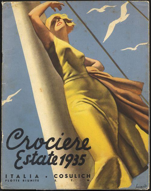 bleistift-und-radiergummi:    Gino Boccasile Illustration 'Crociere Estate 1935'