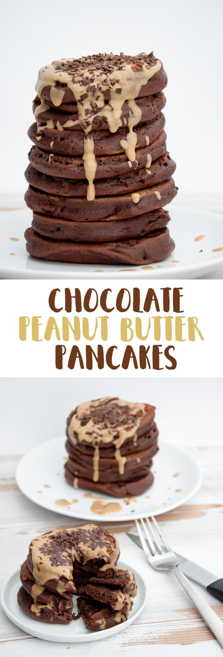 Vegan Chocolate Peanut Butter Pancakes via @elephantasticv (Gluten Free Recipes For Dessert)