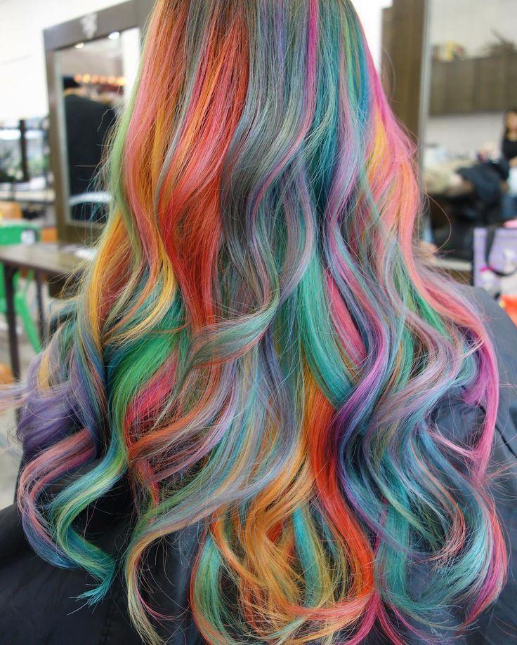 Rainbow unicorn multi-hued hair color. | Wild hair color ...