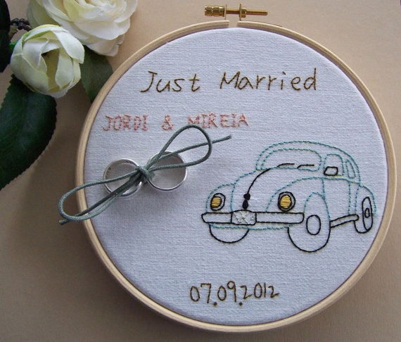 Embroidery hoop art ring bearer pillow alternative by