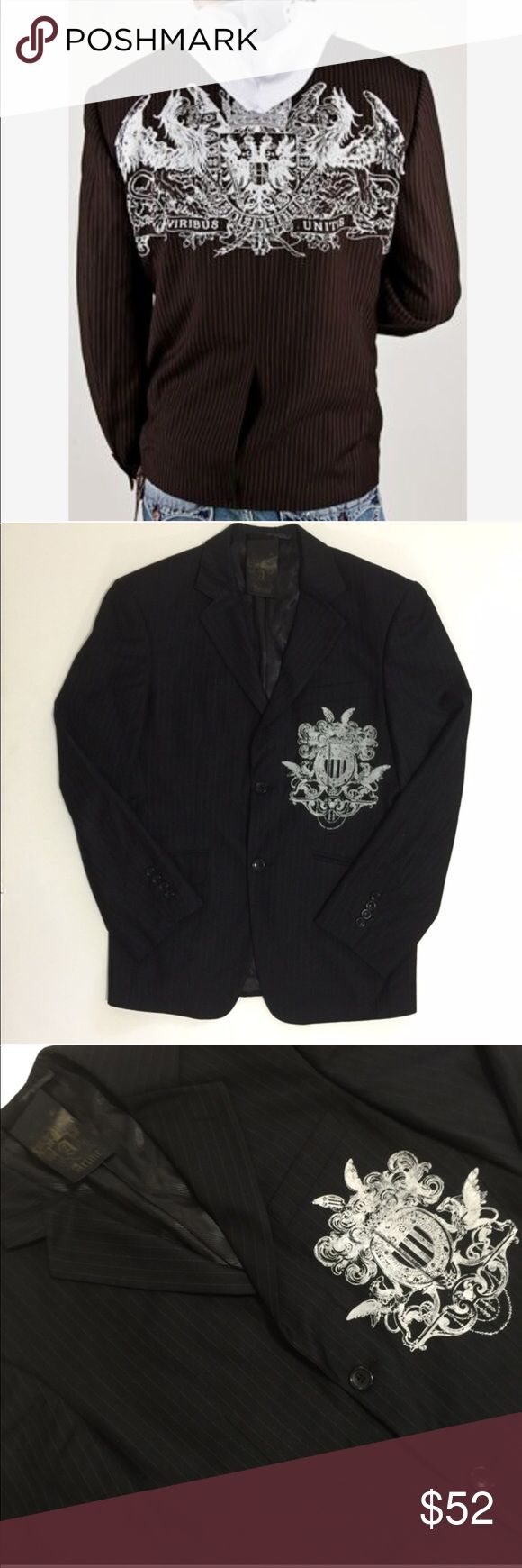 """Artine Men's Pinstripe U.K. Prep School Blazer Gorgeous lined pinstripe 2 button blazer.   50% poly, 50% rayon.  Dry clean only.  19"""" shoulder to shoulder 17.5"""" underarm to bottom of sleeve  There is about an inch at the bottom of the sleeve to take it down if needed. A few dust spots have been noticed on the left sleeve (just from storage and one cleaned should come out).  All items photographed immediately prior to packing for shipping   Expect to receive a well-packed item without being…"""