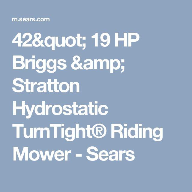"42"" 19 HP Briggs & Stratton Hydrostatic TurnTight® Riding Mower - Sears"