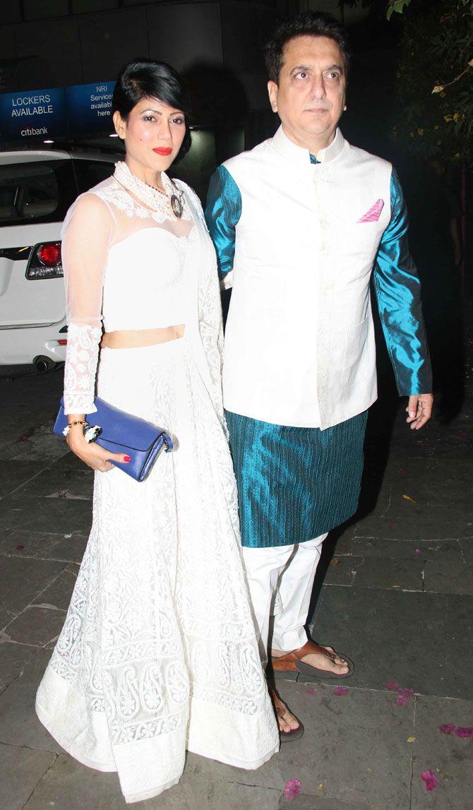 Sajid Nadiadwala and Warda Nadiadwala at Amitabh Bachchan's #Diwali bash. #Bollywood #Fashion #Style #Beauty #Desi
