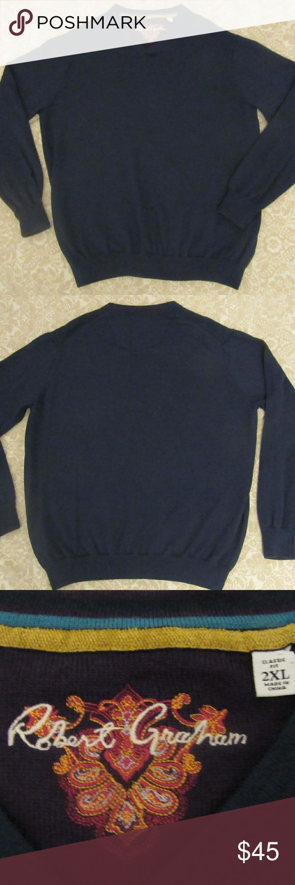 mens robert graham wool classic fit sweater 2XL excellent shape  mens robert graham wool classic fit sweater 2XL   pit to pit 24.5  shoulder to shoulder 19  top to bottom 29  shoulder to cuff 26 Robert Graham Sweaters V-Neck