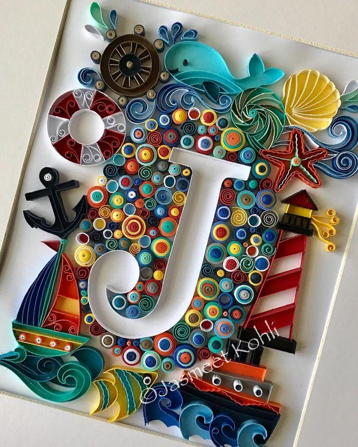 "Jasmeet Kohli (@quillingbyjasmeetkohli) on Instagram: ""Nautical them quilled monogram initial. For Custom orders: JasmeetKohli.Etsy.com #quilling…"""
