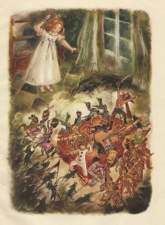 """The Nutcracker and the Mouse King"" 1951 - illustration by J. M. Szancer"