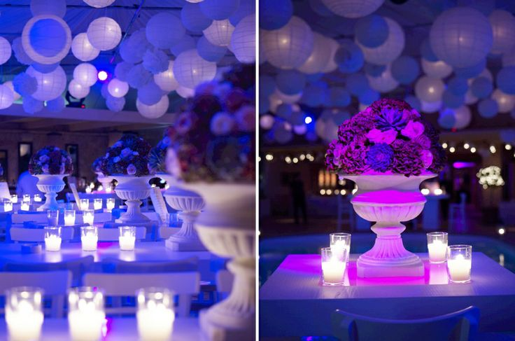 Centerpieces with special lighting!Chic details of the pool area!