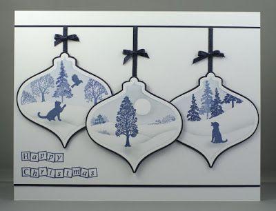Christmas Ornaments/Baubles. Claritystamp Wee Trees. Spellbinders 2011 Heirloom Ornaments.