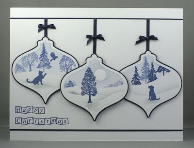 Christmas Ornaments/Baubles. Claritystamp Wee Trees. Spellbinders 2011 Heirloom Ornaments.
