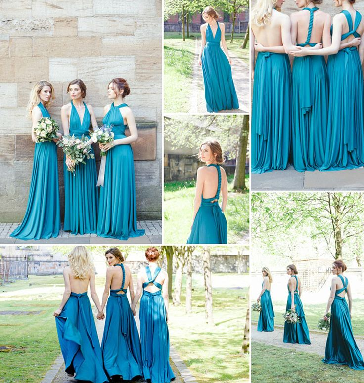 fabelachtige blauwe lange converteerbare bruidsmeisje jurk